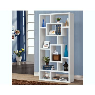 Zela White Finish Modern Bookcase