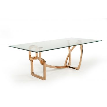Monique Glass Top Dining Table Rose Gold Base
