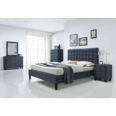 Monroe Grey Leather Platform Bed