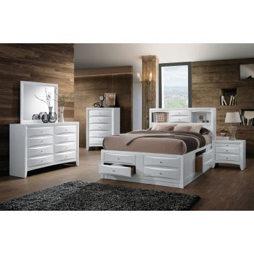 Monton White Finish Bed With Drawers