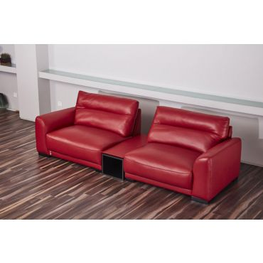 Morena Red Genuine Leather Oversized Sofa