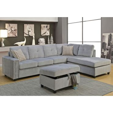 Morey Sectional Grey Velvet