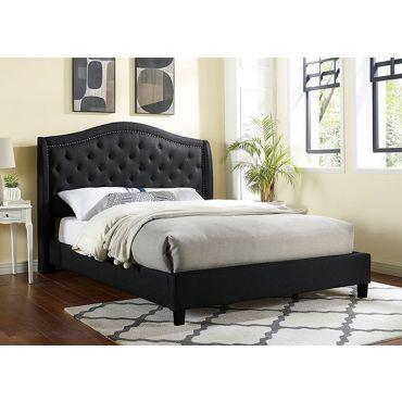 Moris Black Linen Tufted Bed