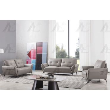 Myles Warm Gray Leather Living Room