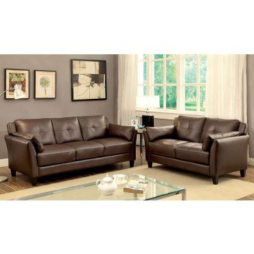 Myra Brown Leather Sofa Collection