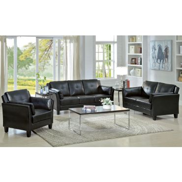 Myra Black Leather Sofa