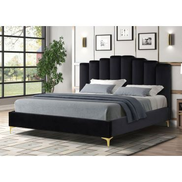 Nadia Black Velvet Bed With Gold Legs