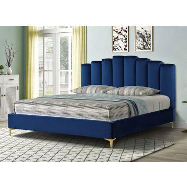 Nadia Blue Velvet Bed Gold Legs
