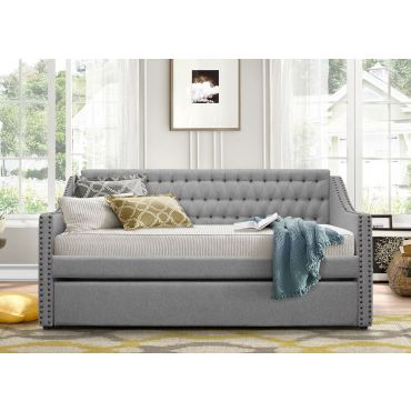Nadine Grey Tufted Fabric Day Bed Set