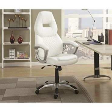 Nars White Leather Office Chair