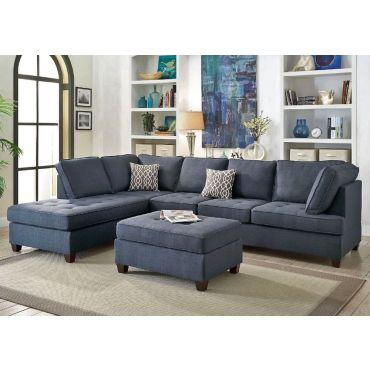 Spencer Blue Fabric Sectional Sofa