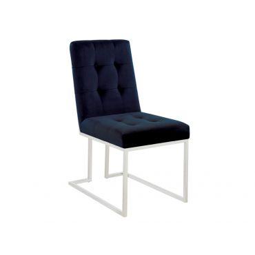 Akiko Ink Blue Velvet Chair Chrome Frame
