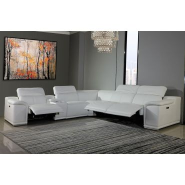 Nieves White Leather Power Recliner Sectional