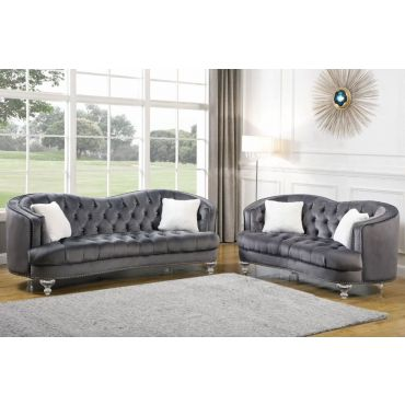 Noriega Sofa With Acrylic Legs Gray Velvet
