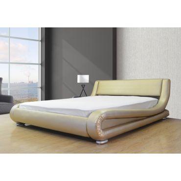 Oliver Gold Leather Platform Bed