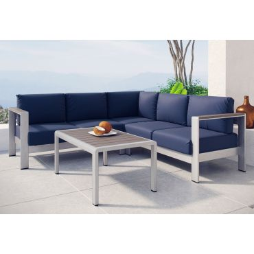 Omnia Navy Blue Outdoor Sectional Set