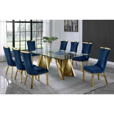 Orabelle Gold Finish Dining Table 9-Piece Set