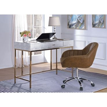 Orpha Silver Finish Modern Desk