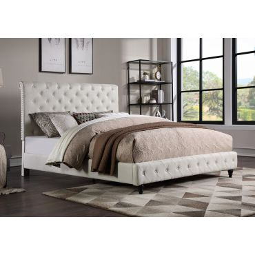 Orsen Beige Linen Upholstered Bed