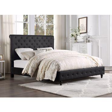 Orsen Tufted Black Linen Bed