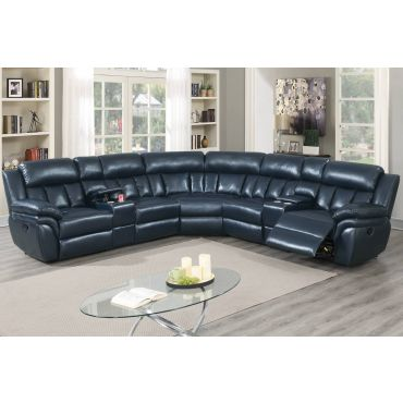 Osmond Navy Blue Leather Recliner Sectional