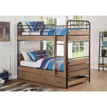 Owen Industrial Style Bunkbed With Trundle