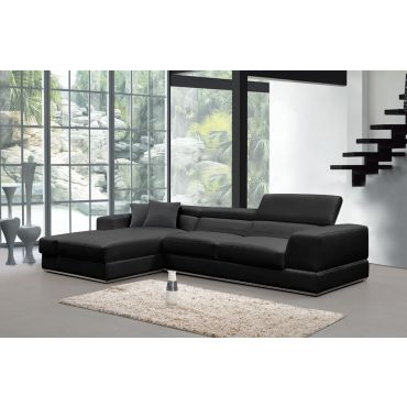 Oxana Black Italian Leather Sectional