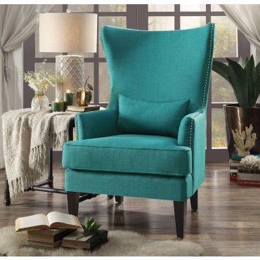 Pagero Teal Linen Accent Chair