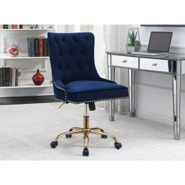 Paisley Navy Blue Velvet Office Chair
