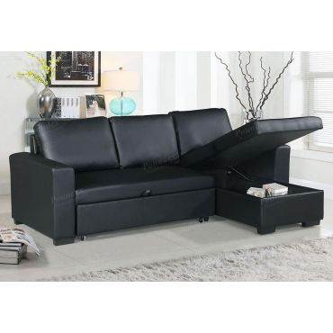 Palmer Black Sectional Sleeper With Storage,Palmer Black Sectional Sleeper