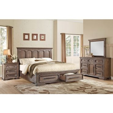 Palomino Rustic Wood Finish Bedroom Set