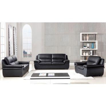 Panda Black Genuine Leather Sofa Set