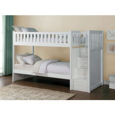 Pattin White Bunkbed With Stair Case