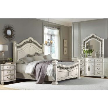 Perseus Victorian Style Bed White Wash
