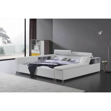 August Platform White Leather Bed