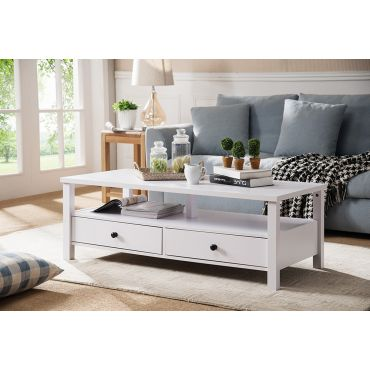 Pierce White Finish Storage Coffee Table