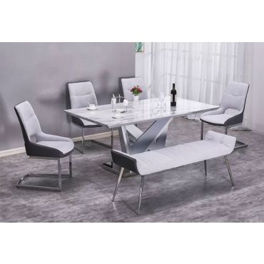Piero Faux Marble Top Table Set
