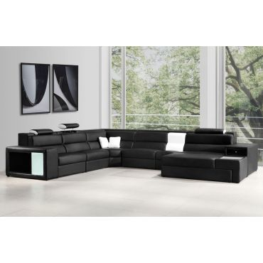 Polaris Black Leather Sectional