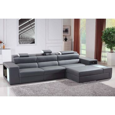 Polaris Sectional Gray Leather