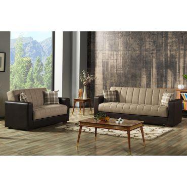 Portland Brown Sofa Sleeper With Storage