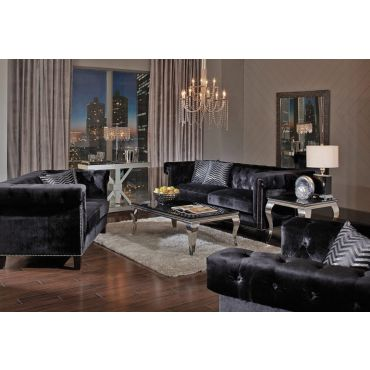 Praten Black Velvet Sofa Collection