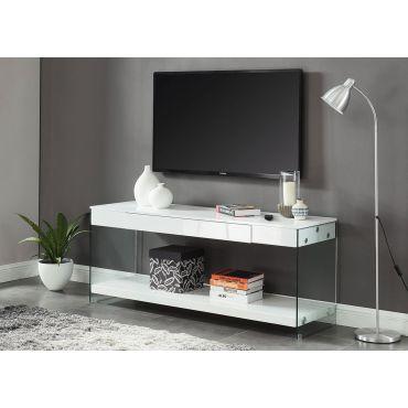 Preva White Lacquer Modern TV Stand