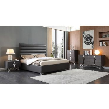 Prince Grey Leather Bedroom Set