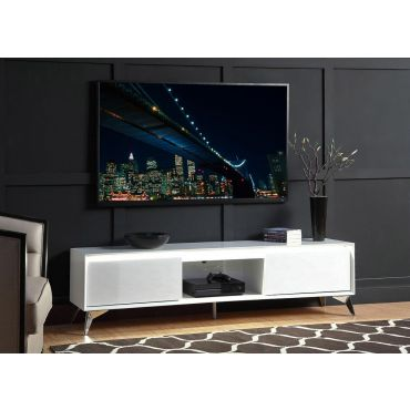 Rada White Lacquer TV Stand With LED Light