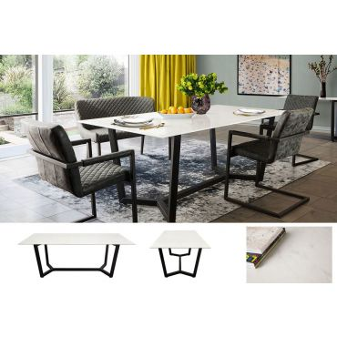 Razor Marble Glass Top Dining Table