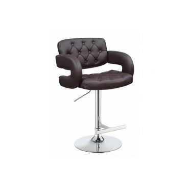 Reagan Brown Tufted Leather Barstool
