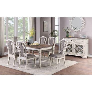 Rebecca White Wash Dining Table Set