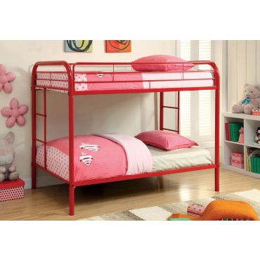 Red Metal Twin Over Twin Bunk Bed