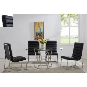 Regal Round Dining Table Chrome Finish,Regal Dining Table With Gray Chairs,Regal Dining Table With White Chairs