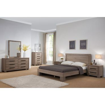 Reiby Rustic Taupe Platform Bed